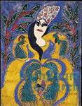 Baya Mahieddine - Femme robe jaune, cheveux bleus