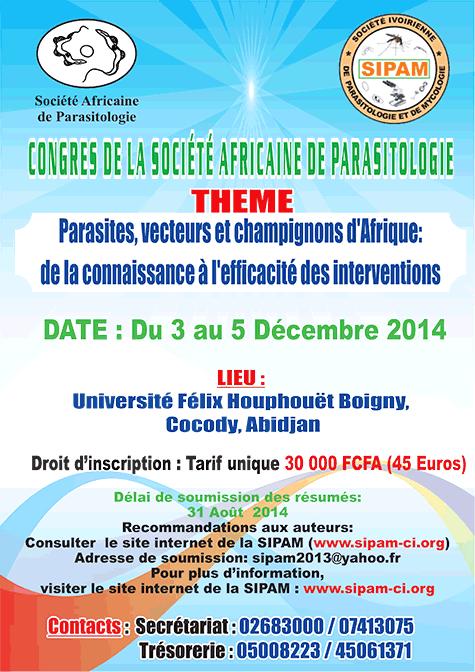 7ème Congrès de la Société Africaine de Parasitologie (SOAP) du 3 au 5 Décembre 2014 - Abidjan - Côte d'Ivoire