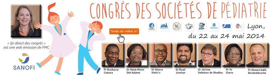 La 23ème émission de « En direct des congrès » était consacrée au Congrès des Sociétés de Pédiatrie (CSP 2014) qui s'est tenu à Lyon du 22 au 24 mai 2014. Les professeurs Ye Diarra, Boubacar Camara, Ahmed Salih Bendeddouche et les docteurs Marie-Reine Sieli Adjami, Ryad Joomye, Steeve Micha Minto'o Rogombe et Jérôme Valleteau de Moulliac font le point sur ce qu'il faut retenir de ce congrès - Plus d'informations