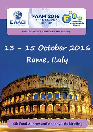 Le 4ème Food Allergy and Anaphylaxis Meeting (FAAM 2016) aura lieu du 13 au 15 octobre 2016 à Rome - Plus d'informations