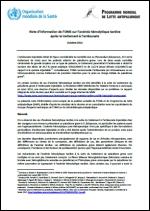 Note d'information sur l'anémie hémolytique tardive après le traitement à l'artésunate - Octobre 2013