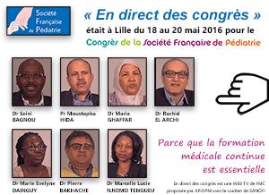 La 45ème émission de « En direct des congrès » était consacrée au congrès de la Société Française de Pédiatrie (SFP 2016) qui s'est déroulé à Lille du 18 au 20 mai 2016. Le Professeur Moustapha Hida et les docteurs Maria Ghaffar et Rachid El Archi du Maroc, le docteur Marie Evelyne Dainguy de Côte d'Ivoire, le docteur Marcelle Lucie Njiomo Tengueu du Gabon, le docteur Seini Bagnou du Sénégal et le docteur Pierre Bakhache de France font le point sur ce qu'il faut retenir de ce congrès - Plus d'informations