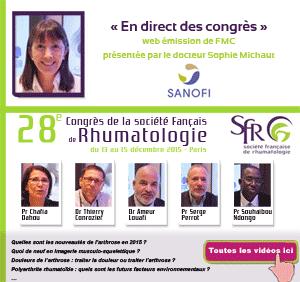 La 42ème émission de « En direct des congrès » était consacrée au 28ème Congrès de la société Française de Rhumatologie (SFR) qui s'est déroulé à Paris du 13 au 15 décembre 2015. Les Professeurs Chafia Dahou, Serge Perrot, Souhaibou Ndongo et les Docteurs Thierry Conrozier et Ameur Louafi, font le point sur ce qu'il faut retenir de ce congrès - Plus d'informations