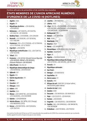 Numéros d'urgences Covid-19 pour chaque pays d'Afrique