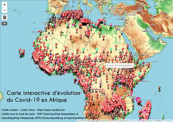 Carte interactive de l'épidémie de COVID-19 réalisée par Cédric Moro - Voir la carte interactive