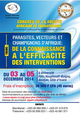 7ème Congrès de la Société Africaine de Parasitologie (SOAP) du 3 au 5 décembre 2014 - Abidjan - Côte d'Ivoire  - Plus d'informations
